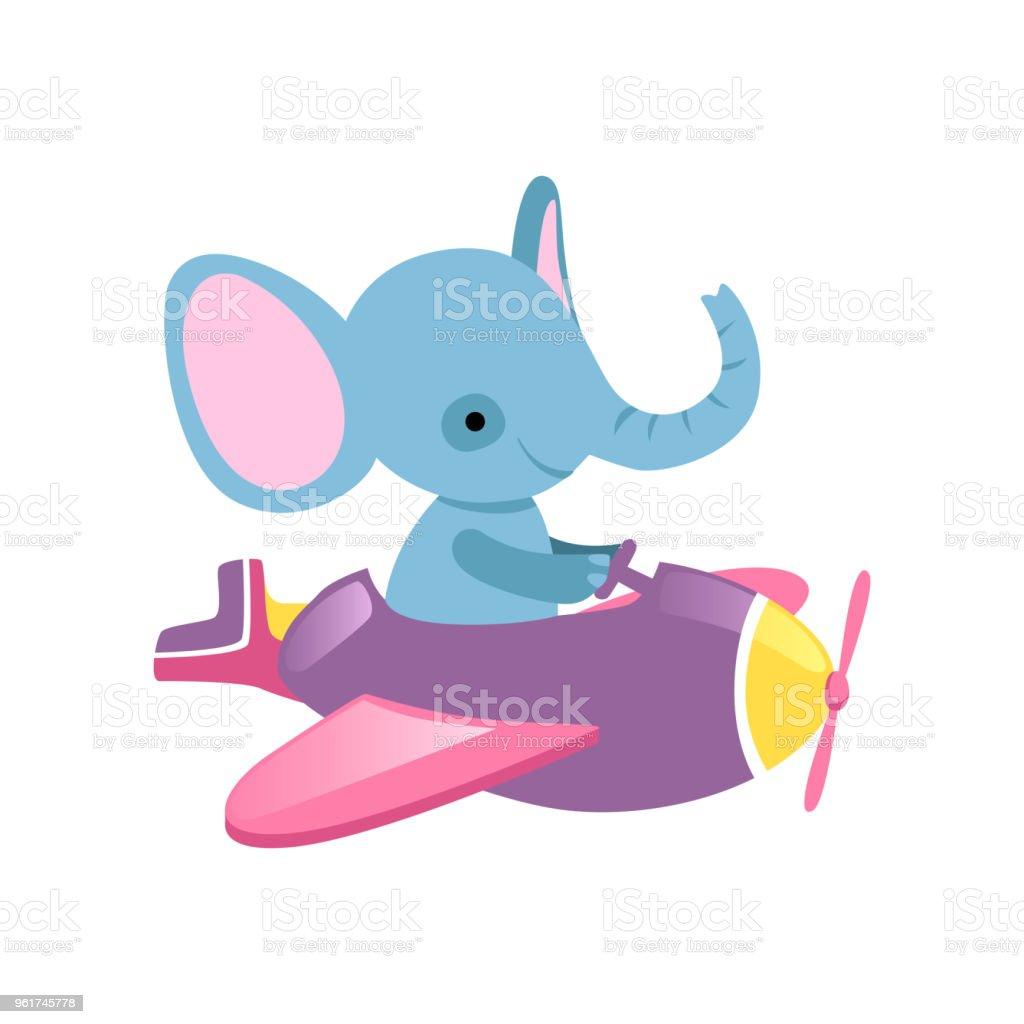 Ilustración de Elefante Azul Volando En Avión Pequeño Animal Salvaje ...