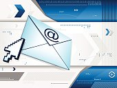 A blue communications background with an envelope, a mouse pointer, arrows, triangles, circles, lines, numbers, dots, etc.