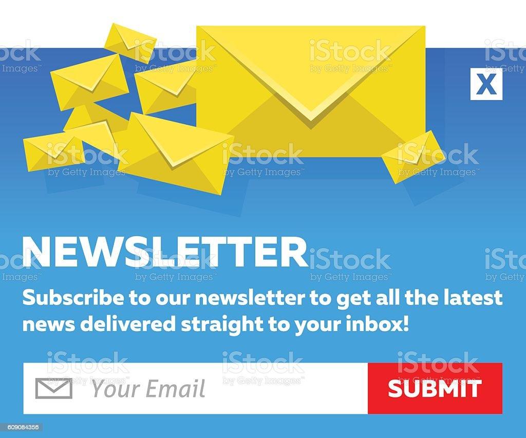 Blue Email Newsletter Subscribe Form Vektor Illustration 609084356