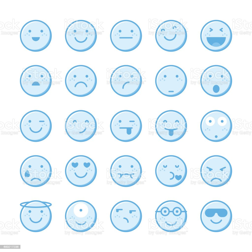 Blue emoticons collection set 1 vector art illustration