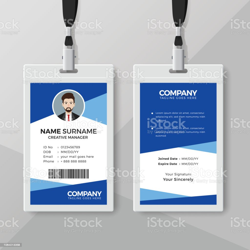 Blue Employee Id Card Design Template Stock Vector Art More Images
