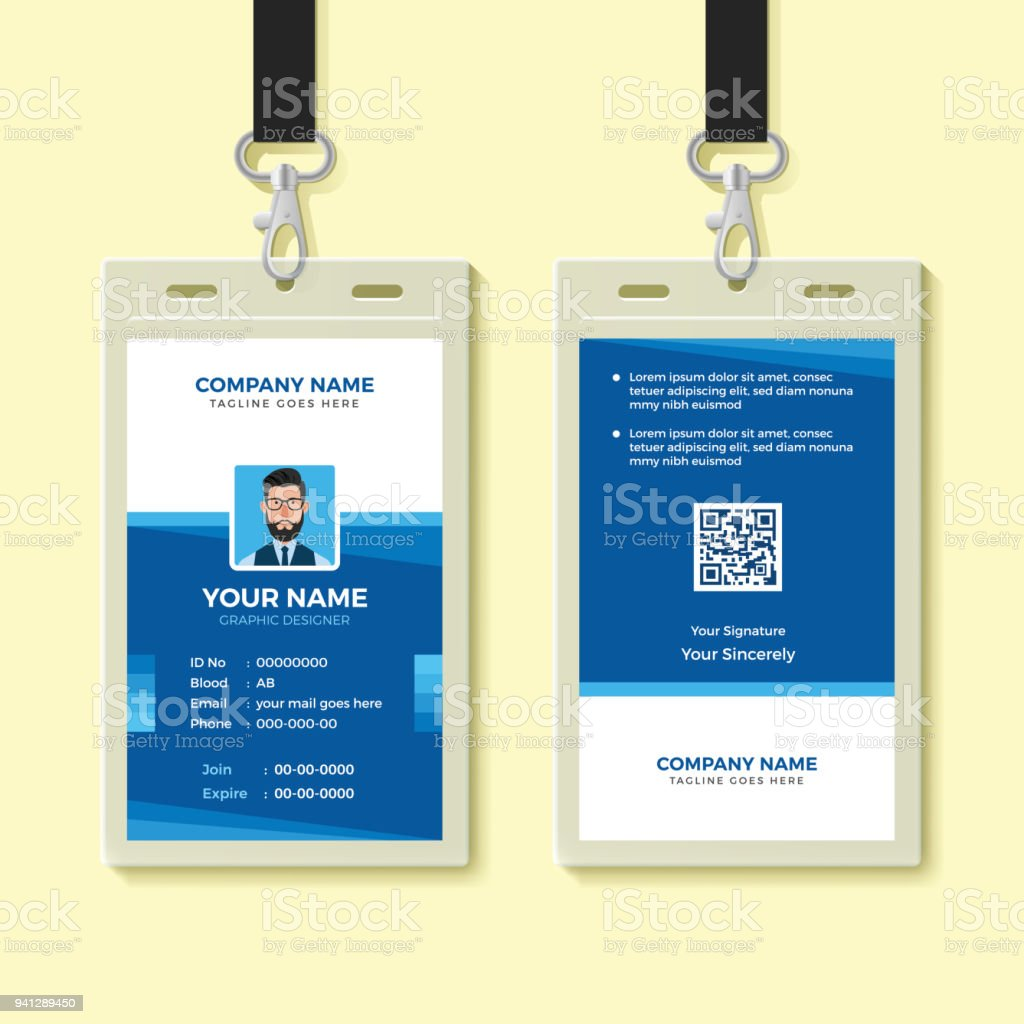 blue employee id card design template royalty free blue employee id card design template stock