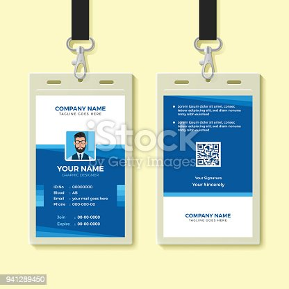 Blue Employee Id Card Design Template Stock Vector Art & More Images ...