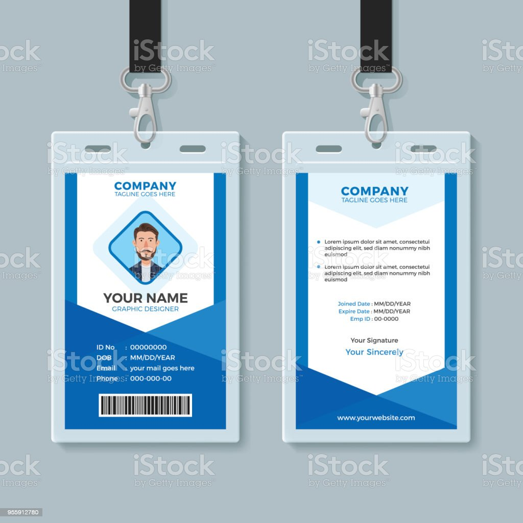 blue employee identity card template stock vector art more images