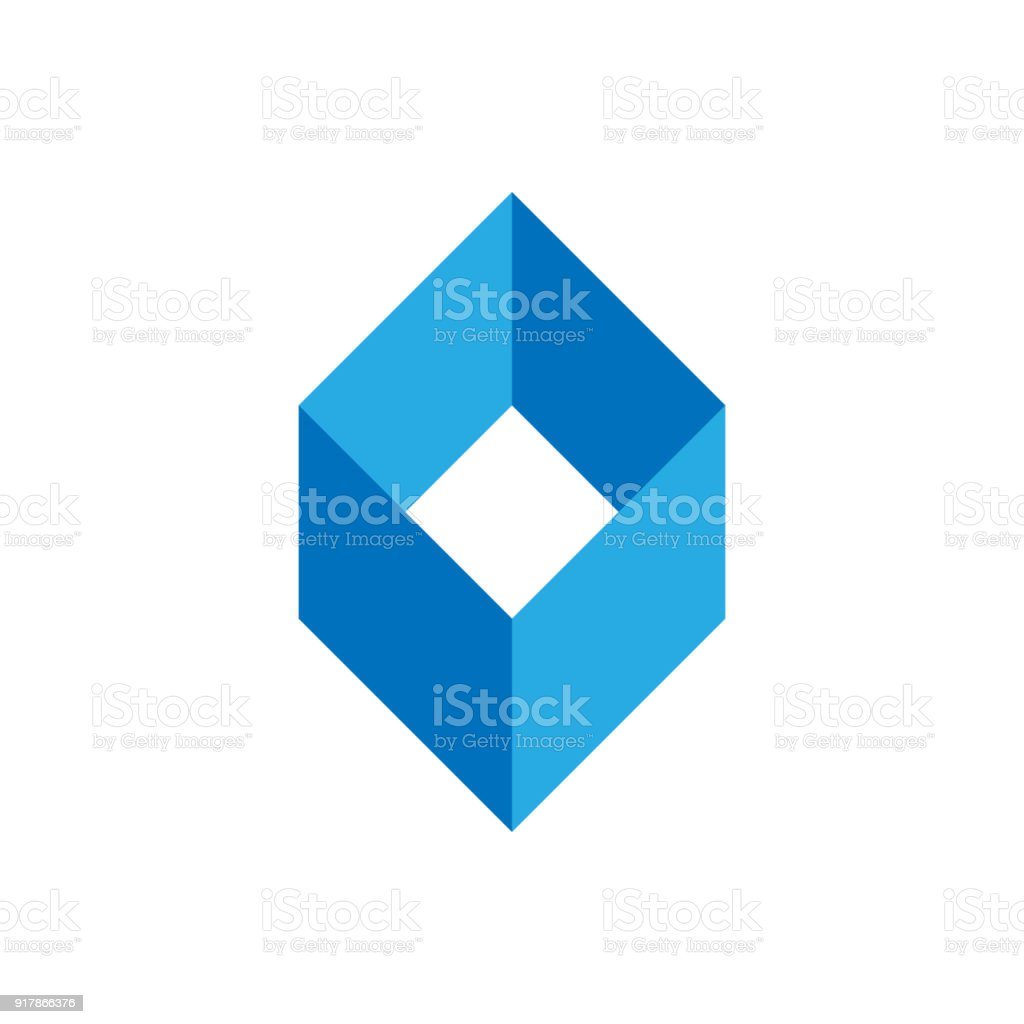 Blue Empty Box Template Simple Geometric Shape Type For