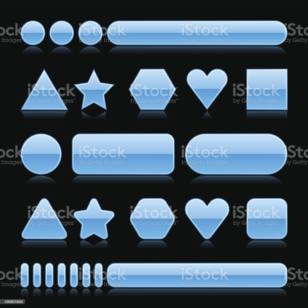 Blue empty glossy icon blank internet button royalty-free stock vector art