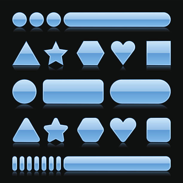 Blue empty glossy icon blank internet button vector art illustration