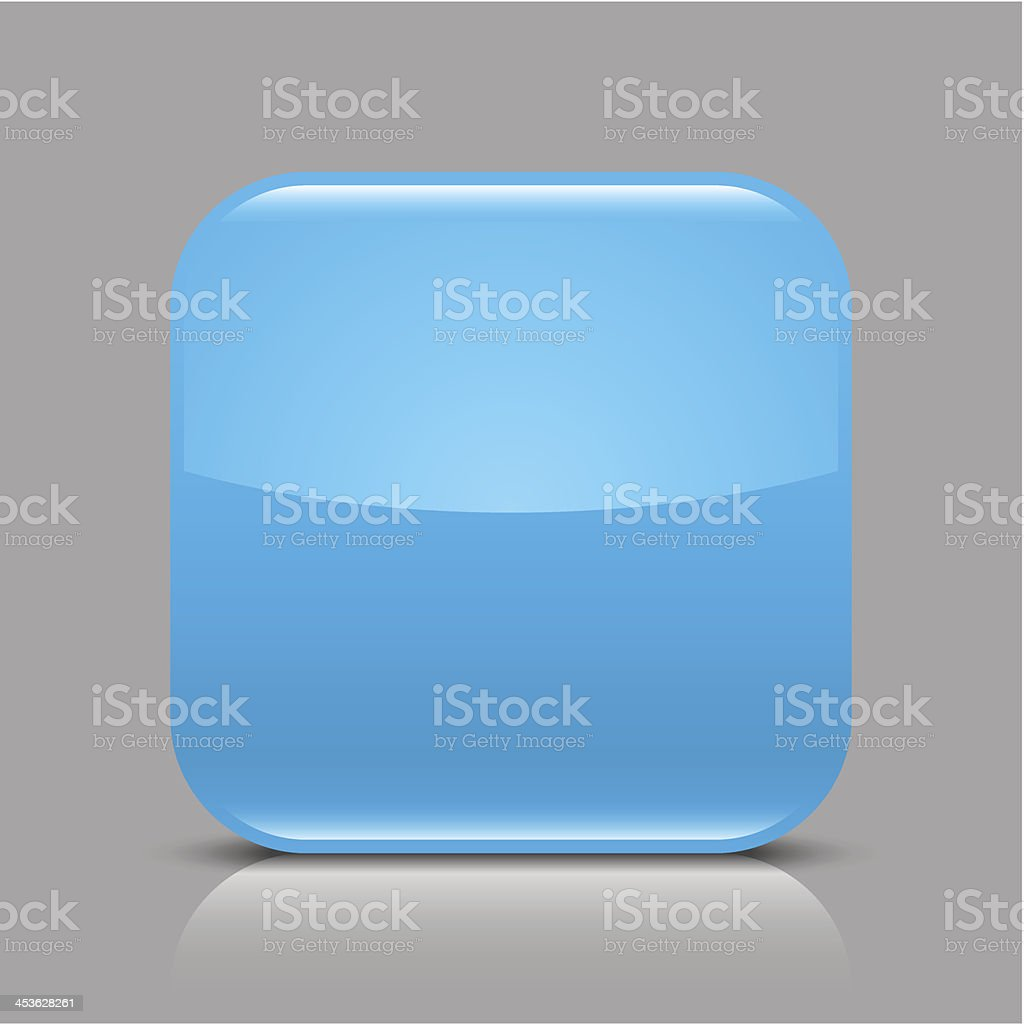 Blue empty glossy icon blank rounded square web button royalty-free stock vector art