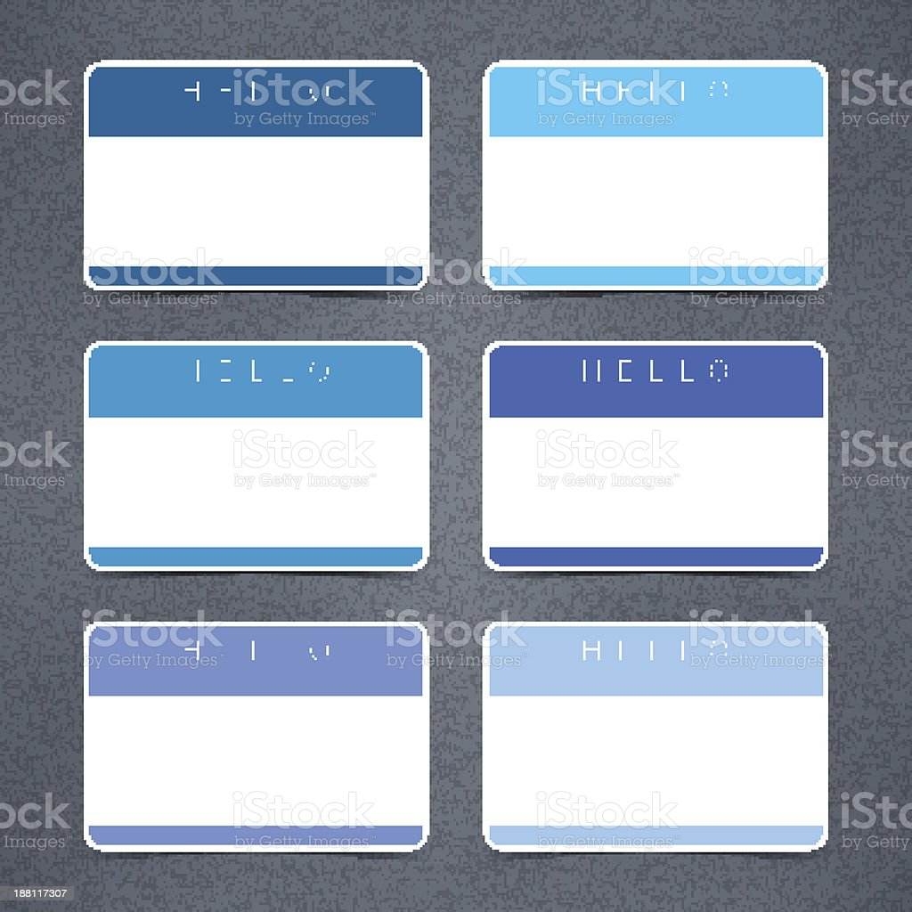 Blue empty nametag hello my name is sticker tag noise vector art illustration