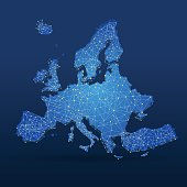 Blue Europe map with connected cities on blue background