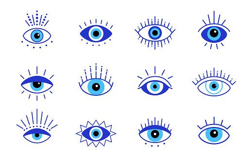 Blue evil eye, vector set eyes symbol, stock illustration