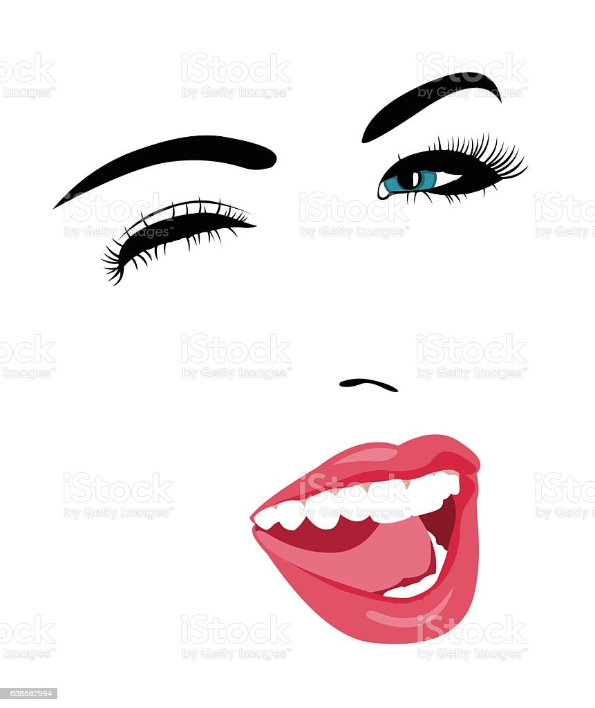 blue eye woman face winking at camera stock vector art more images rh istockphoto com Cartoon Winking Eye Animated Winking Eyes Clip Art
