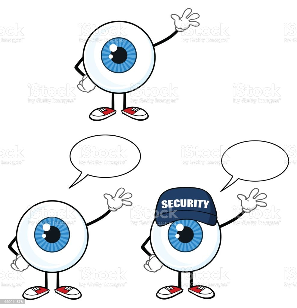 Blue Eyeball Guy Cartoon Mascot Character 1. Collection Set vector art illustration