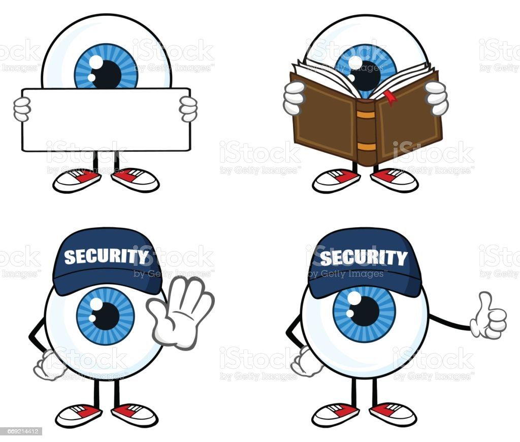 Blue Eyeball Guy Cartoon Mascot Character 3. Collection Set vector art illustration