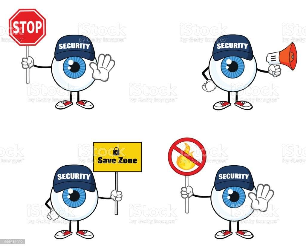 Blue Eyeball Guy Cartoon Mascot Character 4. Collection Set vector art illustration