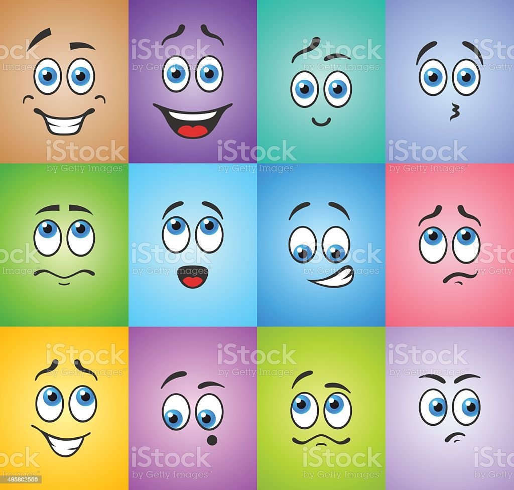 Blue eyes in emotions on colored vector art illustration