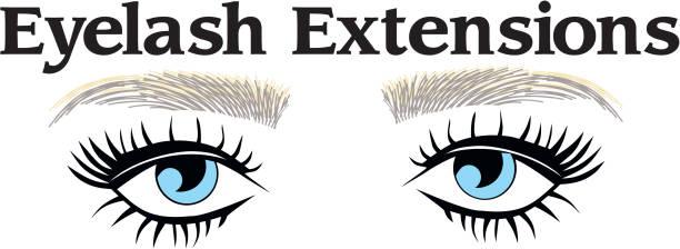 Blue eyes threading salon logo vector art illustration