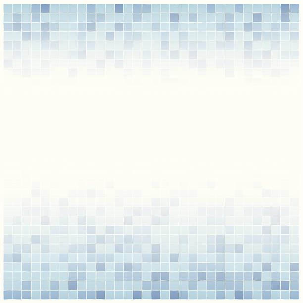 blue faded tile background Background of little irreguler blue tiles with white center fade bathroom backgrounds stock illustrations