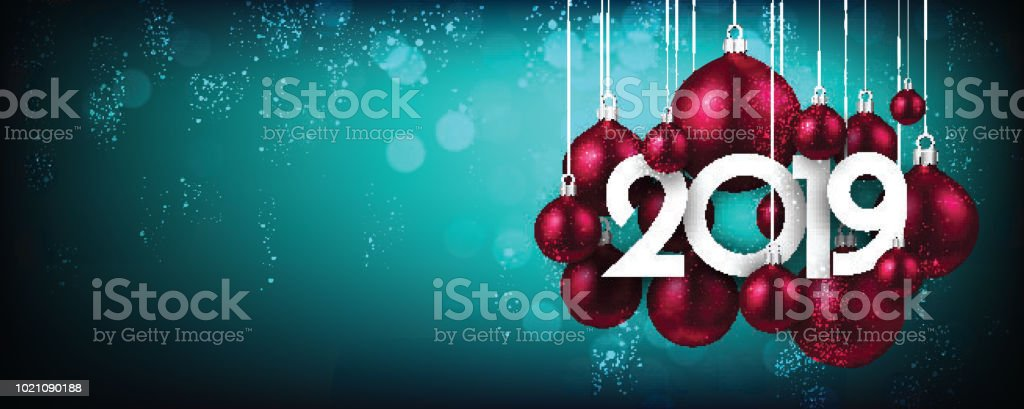blue festive 2019 new year banner with pink christmas balls royalty free blue festive