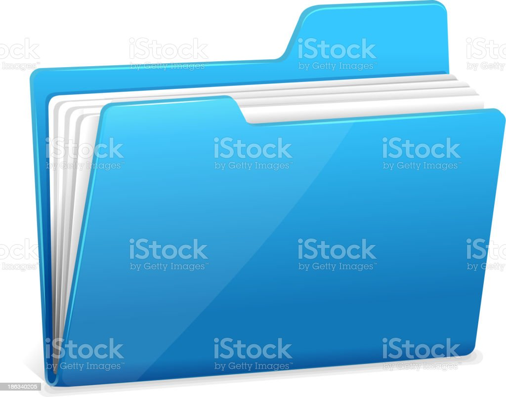 Blue file folder with documents royalty-free stock vector art
