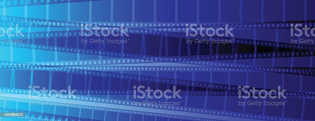 Blue Film strip background vector art illustration