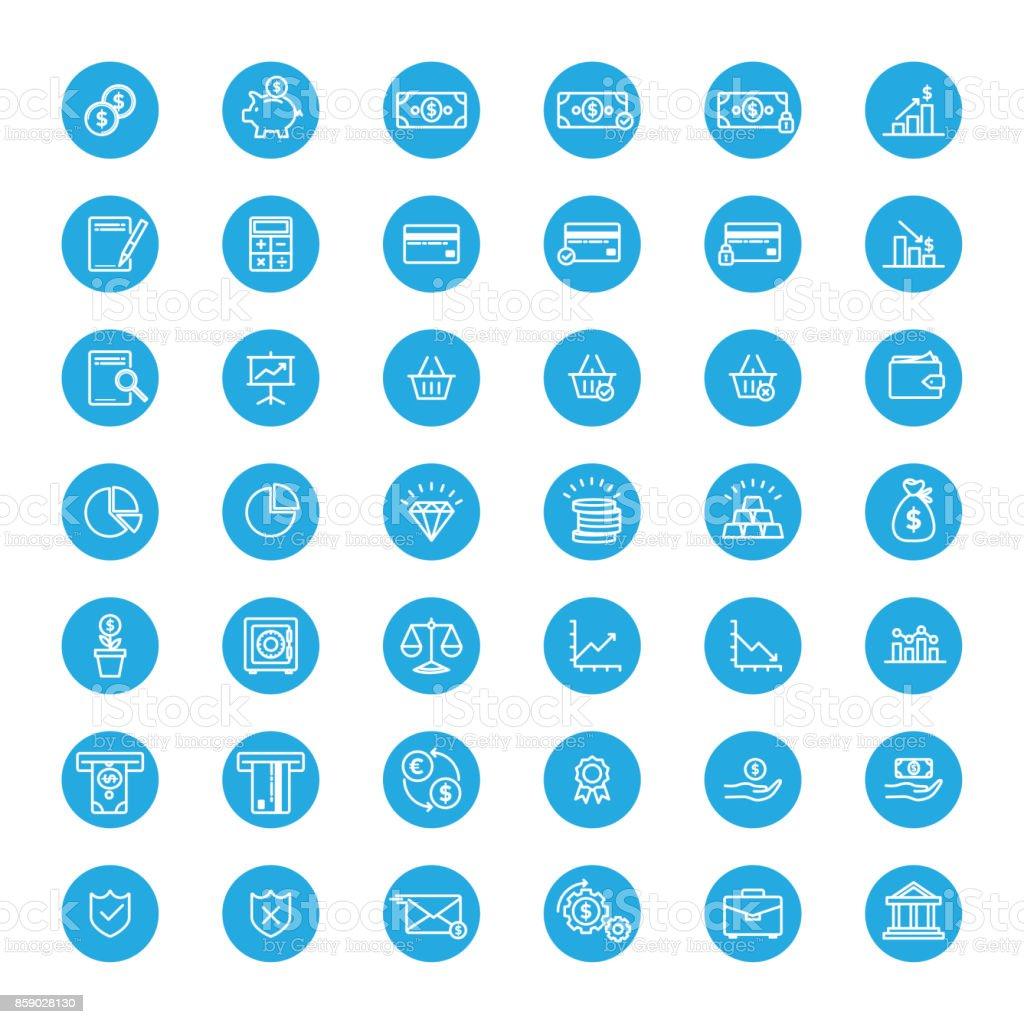Mavi Finans ve bankacılık lineart düğmeleri vektör sanat illüstrasyonu