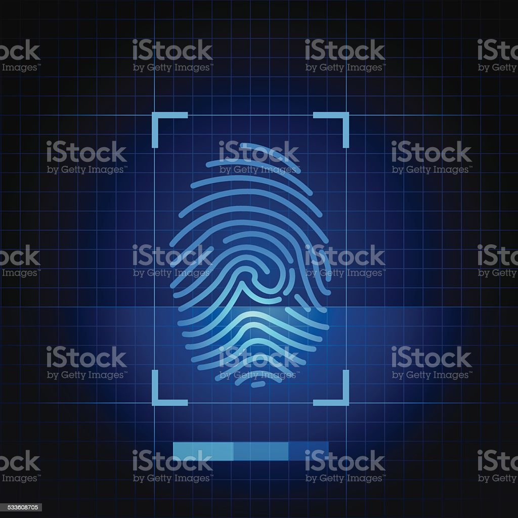 Blue finger print vector art illustration