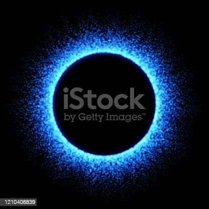 Vector blue fire circle with fiery glow.