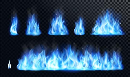 Blue fire flame realistic set
