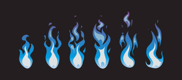 Blue fire vector animation sprites, flames vector art illustration