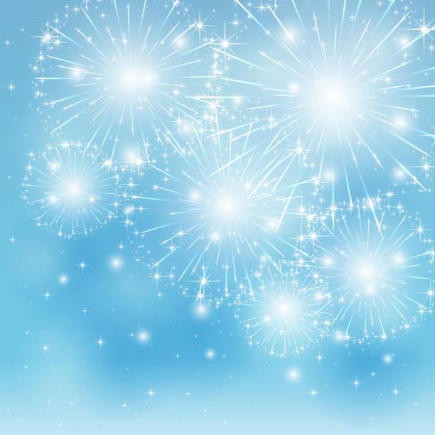 ilustrações, clipart, desenhos animados e ícones de fundo de fogos de artifício azuis - fireworks sky