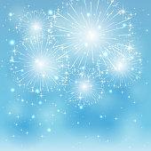 Set of sparkle fireworks on blue background, illustration.