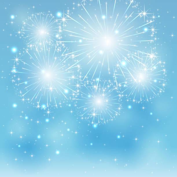 Blue fireworks vector art illustration