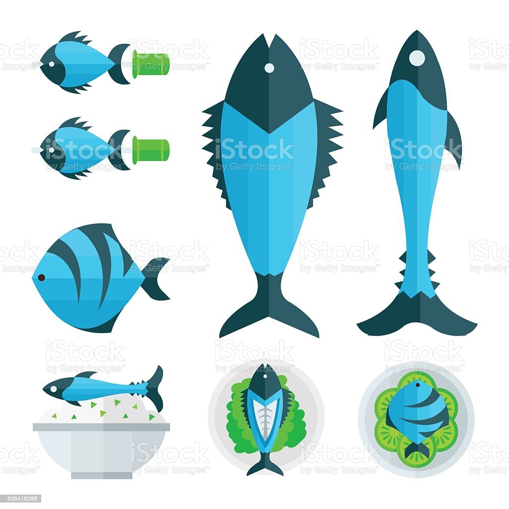blue fish foods and salad infographic vector art illustration