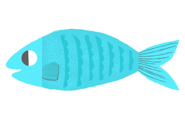 blue fish icon vector illustration with texture april fools day stock illustrations