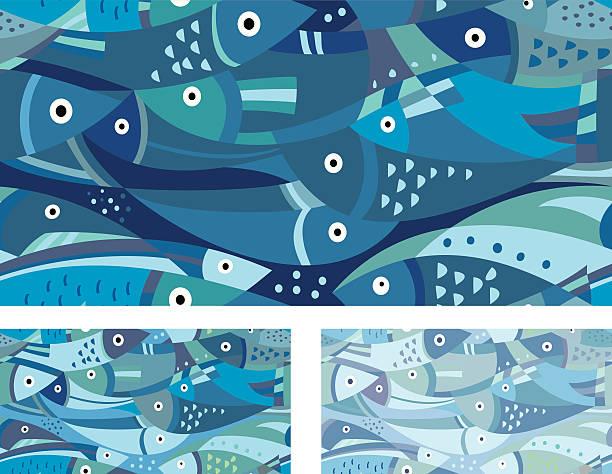 ilustraciones, imágenes clip art, dibujos animados e iconos de stock de patrón de pescado azul - tintanegra00
