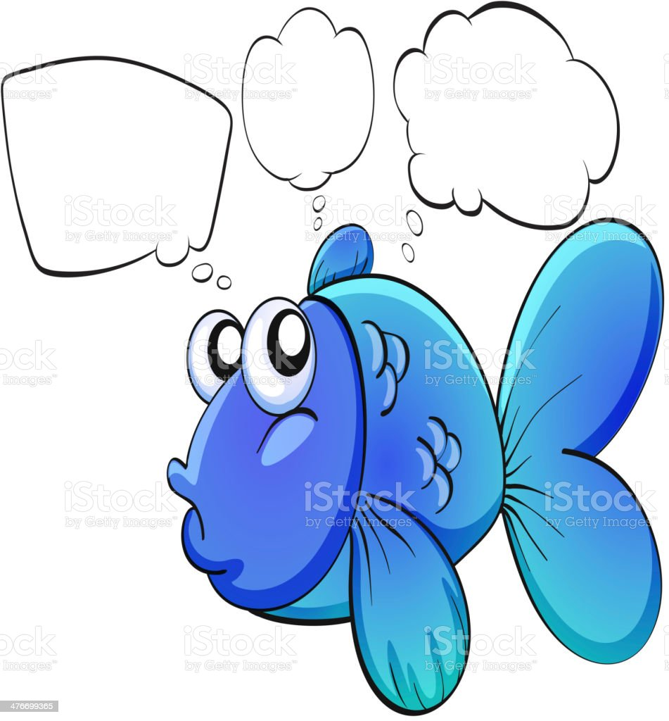 Blue fish with empty callouts royalty-free stock vector art