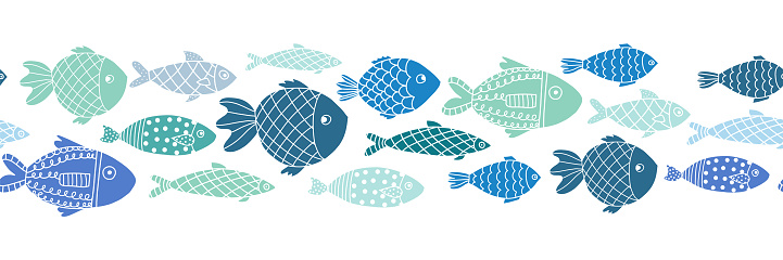 Blue fishes seamless vector border. Doodle line art ocean animal repeating pattern.