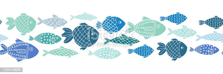 istock Blue fishes seamless vector border. Doodle line art ocean animal repeating pattern. 1224146331
