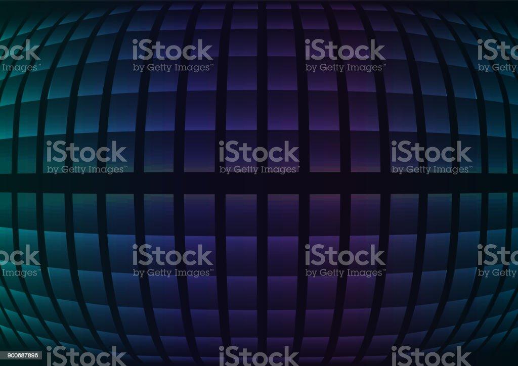 blue fisheye abstract pixel curve background vector art illustration