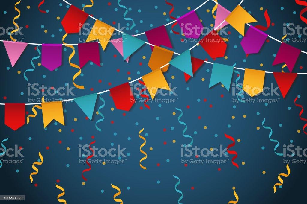 Blue flag garland party celebration background for feast banner vector illustration vector art illustration
