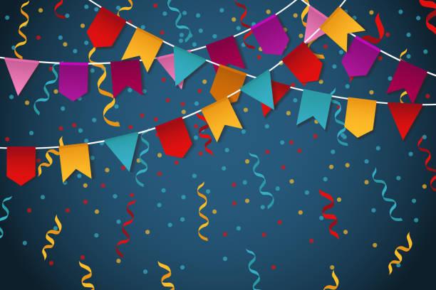 Bandeira azul festão fundo de celebração festa para ilustração em vetor bandeira festa - ilustração de arte em vetor