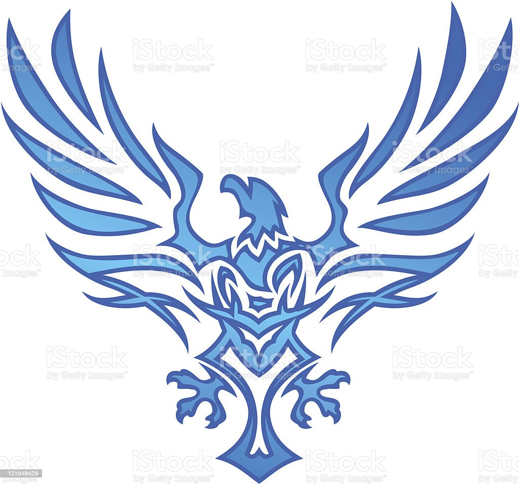 Blue Flame Eagle Tattoo vector art illustration