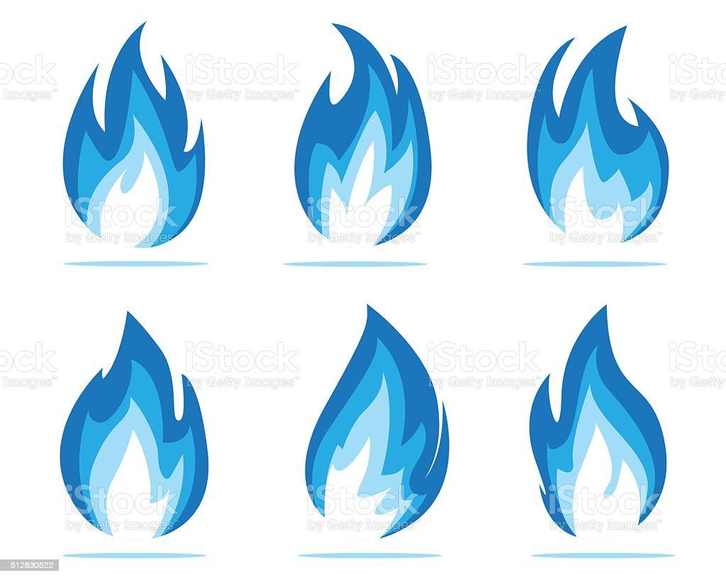 blue flame energy vector art illustration