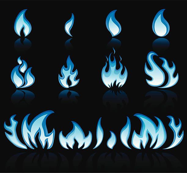 Blue Flame vector art illustration
