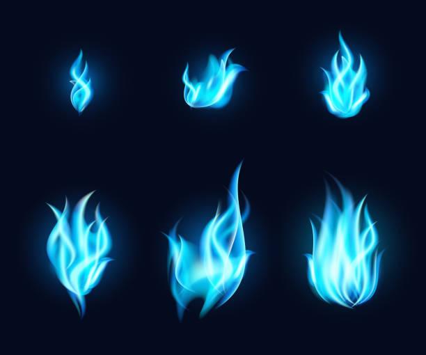 Blue Flames Set vector art illustration