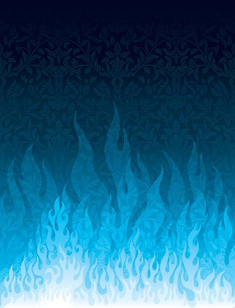 Blue Flames vector art illustration