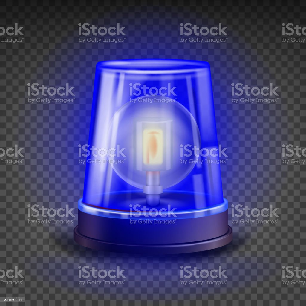 Blue Flasher Siren Vector. 3D Realistic Object. Light Effect. Rotation Beacon For Police Cars Ambulance, Fire Trucks. Emergency Flashing Siren. Isolated On Transparent Background Illustration vector art illustration