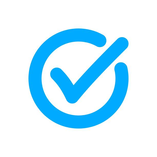 Blue flat checkmark icon. Blue flat checkmark icon. Vector badge of ok, warranty, approved, accept, checked and quality. blue icons stock illustrations
