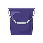 Blue flat empty bucket icon logo vector illustration. Container garden